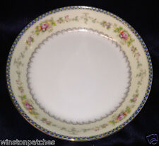 "MEITO CHINA V2144 7 1/2"" SOUP BOWL BLUE & YELLOW BORDER FLORAL SPRAYS GOLD TRIM"