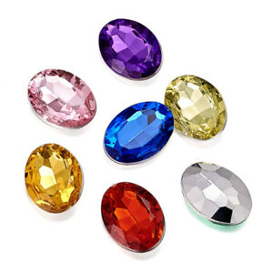 500pcs/Bag Colorful Pointed Acrylic Rhinestone Cabochons Faceted Oval 18x13x5mm