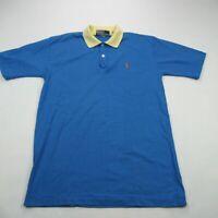 Polo Ralph Lauren 90's Polo Golf Shirt Vtg Cotton XL Short Sleeve Blue Yellow
