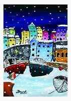 'Icing On The Harbour' Framed Hand Finished Print Of Tenby Harbour By Burt