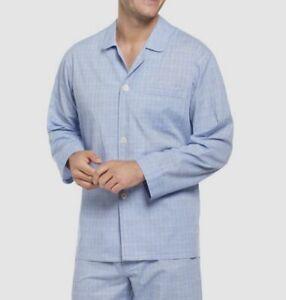$62 Club Room Men's Blue Plaid Pajama Button Shirt Collar Sleepwear Size L