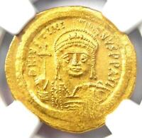 Byzantine Justinian I AV Solidus Gold Coin 527-565 AD. Certified NGC MS (UNC)