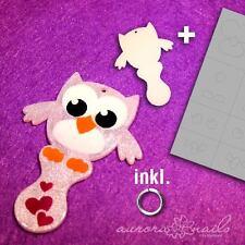 Airbrush Schmuck Rohling Set 12 Rohling + Schablone Eule Owl Einkaufswagen Chip