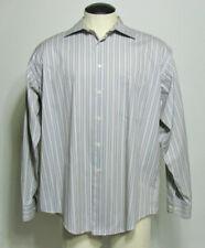 Pronto Uomo Men's Tan Striped Long Sleeve Dress Shirt Size XL Non Iron Cotton