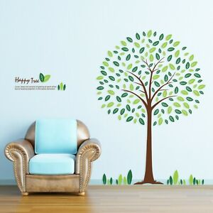 Large Green Happy Tree Vinyl Wall Decals Sticker Mural Paper Home Art Decor