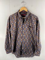 Timepieces Men's Vintage Long Sleeve Hawaiian Casual Shirt Size M Blue Brown