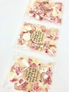 ROSE GOLD, Pink, Ivory Dried Biodegradable Wedding Confetti Petal Bags Packets