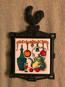 Vintage Cast Iron Rooster Trivet Tile