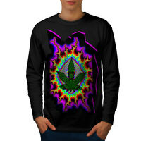 Wellcoda Rasta Weed Psychedelic Mens Long Sleeve T-shirt, Acid Graphic Design