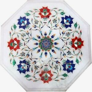 12 Inches Flower Art Inlay with Gemstones Bedside Table Top Marble Coffee Table