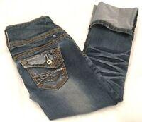 Rue 21 Womens Blue Distressed Cropped Capris Cuffed Jeans 1/2 (27 x 22 Measured)