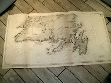 Vintage Admiralty Chart 232A NEWFOUNDLAND - SOUTHERN PORTION 1915 edn