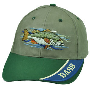 Bass Fishing Outdoor Camping Fish Olive Green Hat Cap Adjustable Camp