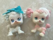 Littlest Pet Shop Dogs Puppy Poodles French #17 255 Real Hair White Pink LOT