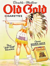 Old Gold Indian Girl Pin-up Ad High Quality Metal Magnet 3 x 4 in Fridge 9333