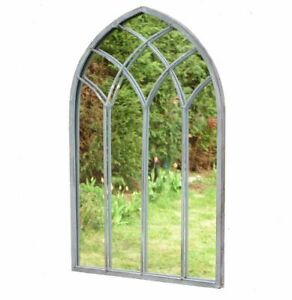 Gothic Garden Mirror Outdoor Wall Ornament Lead Look Metal 48cm