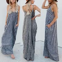 ZANZEA 8-24 Women Spaghetti Strap Striped Maxi Sundress Party Club Beach Dress