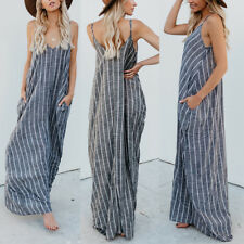 ZANZEA 8-24 Women Spaghetti Strap Striped Maxi Sundress Party Club Beach Dress