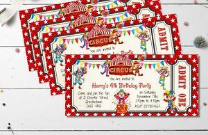 4 x Circus Clown Personalised Invitations & Envelopes