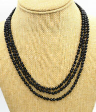 """Fashion jewelry 3 rows Faceted 4 mm natural black onyx bead necklace 17-19 """" AAA"""