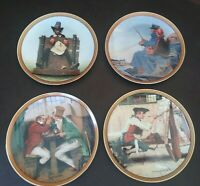 Collectors Set of 4 Edwin Knowles Norman Rockwell's Colonial China Plates 5-8