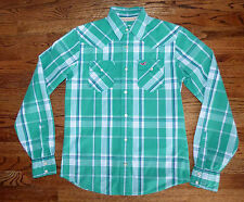 ** HOLLISTER ** Pearl Snap Button Awesome Green Plaid Cowboy Western Shirt S