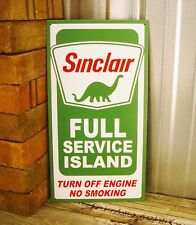 Sinclair Full Service Island Oil Gas No Smoking Metal Tin Sign Vintage Garage