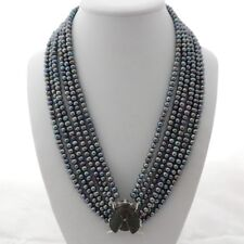 "19"" 6 Strands Black Pearl Necklace CZ Pave Beetle Connector"