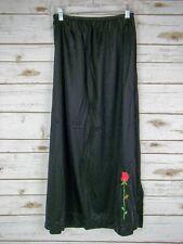 "Black with Red Rose Nylon Half Slip, 36"" Waist x 33"" Length, 42"" Hips"