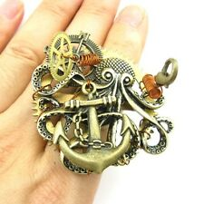STEAMPUNK ANTIQUED COMPASS SEA ANCHOR OCTOPUS GEAR RING SIZE 7 JEWELRY SP118