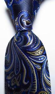 New Classic Paisley Black Blue Gold White JACQUARD WOVEN Silk Men's Tie Necktie