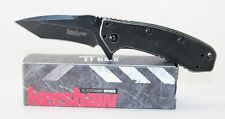 Kershaw Cryo Hinderer Tanto Plain Edge Assisted Folder Knife Blackwash 1555TBW