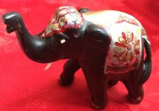 Vtg Rose Wood Hand Carved Ugly Elephant Multi Color Republican Trunk Up Tusks