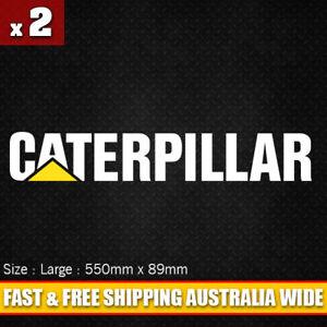 2 x Caterpillar Vinyl Cut Decal Sticker 550mm x 89mm - Heavy Machinery Truck