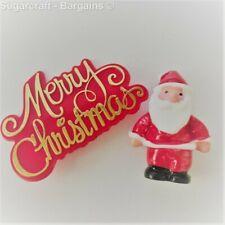 Santa  Cake Topper Decoration Red Xmas Motto Merry Christmas Xmas