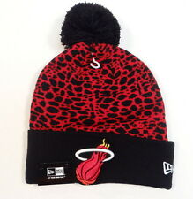 New Era NBA Miami Heat Knit Cuff Beanie Skull Cap w Pom Pom Adult One Size NWT