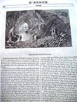 1839 VEDUTA INCISA IN RAME DELLA GROTTA DEI GIGANTI IN IRLANDA DA 'L'ALBUM'