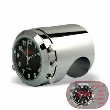 "Marlins Talon Motorcycle Handlebar Clock Push Button Backlit Black 1 1/4"" Bar"