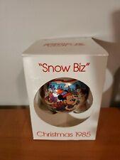 Walt Disney Schmid Glass Christmas Ball Ornament 1985 Snow Biz Skiing - Mickey