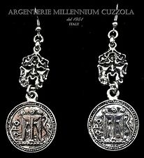 ORECCHINI MONETE ARGENTO MASCHERA FORTUNA MONETA SILVER COIN PIECE MASK EARRINGS