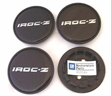 "1985 - 1987 CAMARO - IROC - Z28 WHEEL CENTER CAP SET - SILVER / BLACK "" IROC-Z """