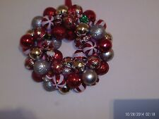 "Christmas ball ornament wreath 14"" bulbs Red, Silver and White Colors Handmade"