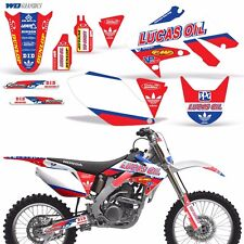 Full Graphic Kit Honda CRF250R Dirt Bike Stickers w Backgrounds CRF 250R 04-05 L