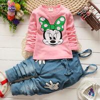 Niña bebé Minnie Mouse Camiseta+Bib Denim Pantalones Trajes Set Ropa 1-5Y