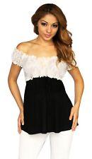 Black White Lace Maternity Pregnancy Top Short Sleeve Solid Work Attire Elegant