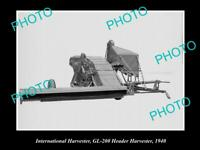 OLD POSTCARD SIZE PHOTO OF INTERNATIONAL HARVESTER GL-200 HEADER HARVESTER c1940