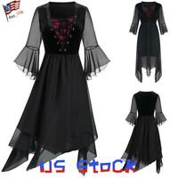 Women Medieval Steampunk Gothic Flared Sleeve Dress Asymmetric Mesh Plus Size US