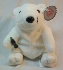 "Coca-Cola CUTE POLAR BEAR W/ COKE BOTTLE 5"" Bean Bag STUFFED ANIMAL TOY NEW"