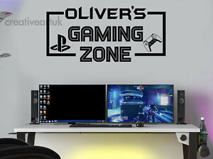 Gaming Zone Personalised Wall Stickers Decals PS Gamer Controller Wall Art GZB5