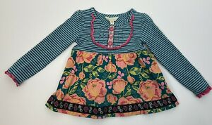 Matilda Jane Sz 2 Once Upon A Time Gallant Tunic Top Girls Green Striped Floral